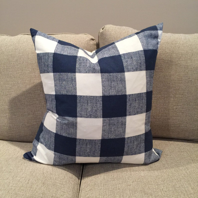 9fe9fef8a32 Navy Buffalo check pillow cover Navy Gingham navy plaid