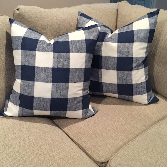 b8c739865f1 Set of 2 Pillow Covers Navy Buffalo check pillow covers