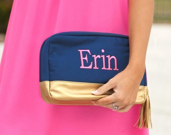 efe822fde369be Navy Canvas Makeup Bag-Monogrammed Cosmetic Bag-Navy Cosmetic Bag-Viv and  Lou-Cabana Cosmetic Bag-Cosmetic Bag-Navy and Gold Cosmetic Bag