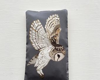 Barn Owl Silk Lavender Eye Pillow - Large