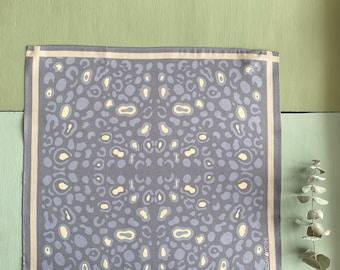 Leopard Blossom - Silk Pocket Square - Leopard Print - Lavender
