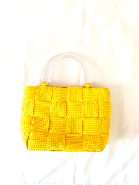 2000s Clear Lucite Top Handle Handbag Yellow Woven