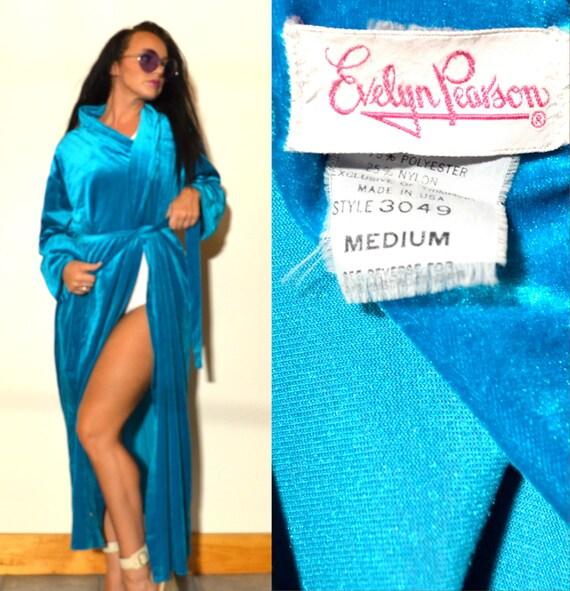 Vintage Evelyn Pearson Teal Velvet Robe Glamorous
