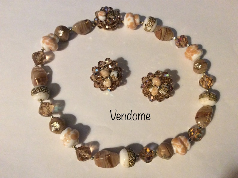 Lovely set with unique class beads Perfect for any occasion. Vendome classic necklace and clip on earrings