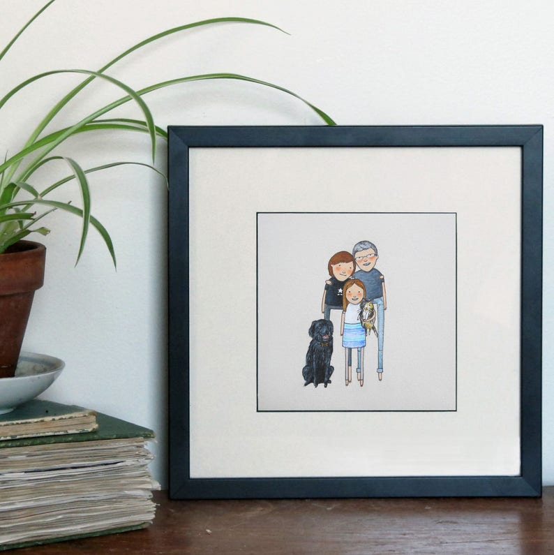 Mother/'s day adoption. anniversary family portrait custom family portrait with pets birthday Hand-drawn unique gift