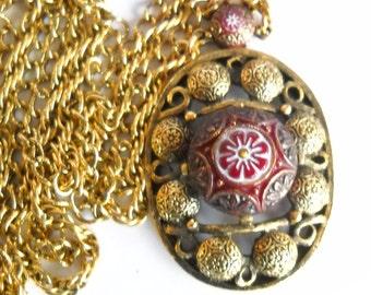 Necklace Vintage Celebrity Moroccan Matrix Necklace Avant Garde D & E Celebrity NY 1974 Red White Cabochon Gold Statement Necklace