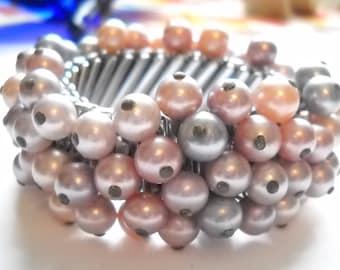 Bracelet Vintage Cha Cha Expansion Pearl Beads Vintage Japan Lavender Rose Gray Beads Mid Century Statement Bracelet