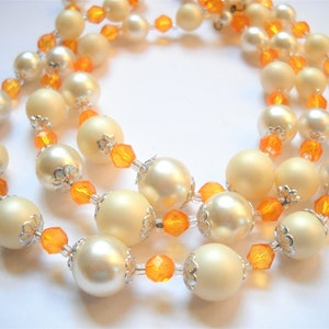 Pearl Necklace 60 Inch Vintage Faux Pearl Pink Metallic Long Bumpy Rosebud Beaded Hand Knotted Multi Sized Wedding Modernist Modern
