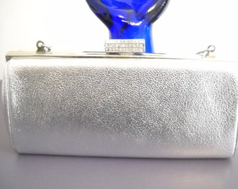 Vintage Evening Bag MM Silver Kidskin Rhinestone Evening Clutch Morris  Moskowitz Silver Chain Invisible Strap Hollywood Regency 1960 8184ed88d096e