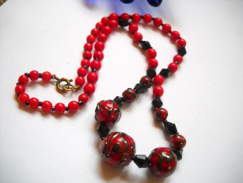 Vintage Necklace Red Black Flamb\u00e9 Venetian Lampwork Glass Bead Red Black Choker Necklace Art Deco Statement Necklace