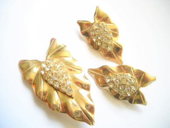 Vintage SARAH COVENTRY Brooch and Clip-On Earrings Set TROPICS Goldtone Palm Leaves 1960/'s