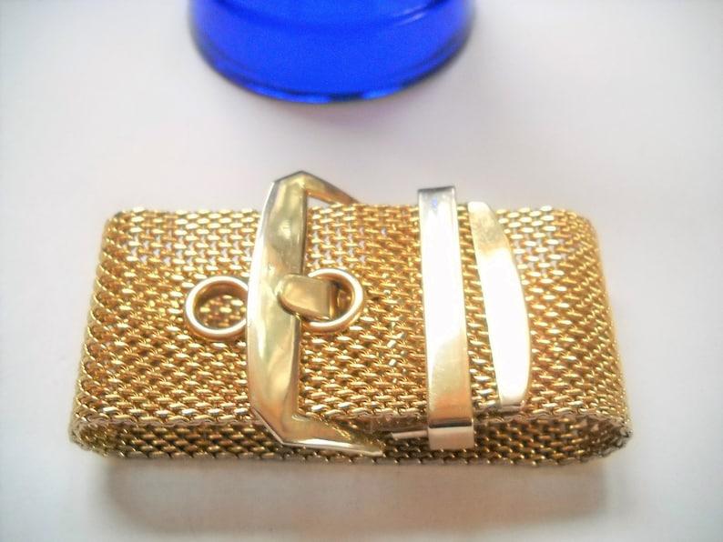 Vintage Buckle Bracelet Wide Gold Tone Mesh Buckle Bracelet Adjustable 1960s Gold Tone Mesh Chain Link Mid Century Boho