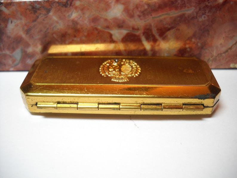 Vintage DuBarry Mascara Gold Box Vintage Du Barry Richard Hudnut Gold Tone Metal Compact Case Mid Century