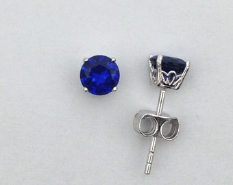 e30ec8aff 5 mm Round Shape Created Sapphire Stud Earrings 925 Sterling Silver