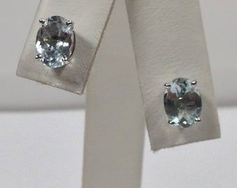 Natural Aquamarine Stud Earrings Solid 14kt White Gold. March Birthstone