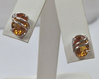 Natural Citrine Stud Earrings 925 Sterling Silver
