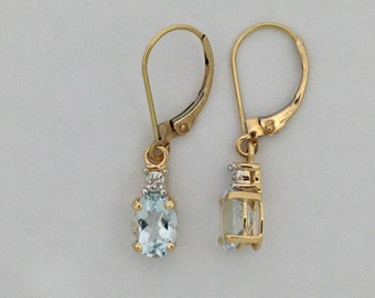Natural Aquamarine with Natural Diamond Dangle Earrings Solid 14k Yellow Gold