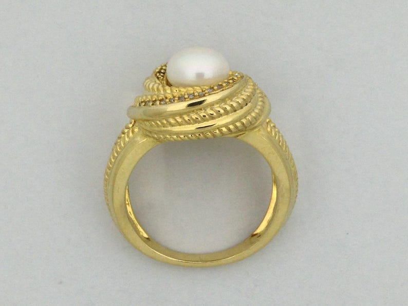 Cultured Freshwater Pearl with Natural Diamond Ring 925 Sterling Silver Yellow Gold Plated