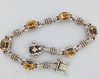 Natural Citrine Bracelet 925 Sterling Silver with Solid 14kt Yellow Gold