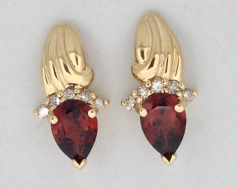 Natural Garnet with Natural Diamond Cluster Earrings Solid 14kt Yellow Gold. January Birthstone. Pear Shape Garnet