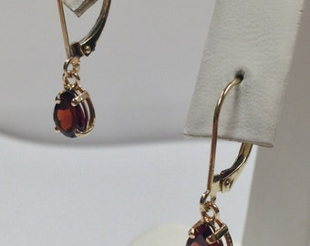 Natural Garnet Dangle Earrings Solid 14kt Yellow Gold