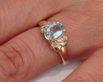 Natural Aquamarine with Natural Diamond Ring Solid 10kt Yellow Gold. March Birthstone