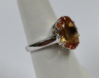 Natural Citrine Solitaire Ring 925 Sterling Silver