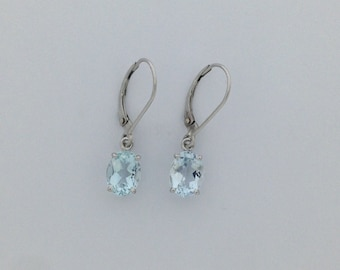 Natural Aquamarine Dangle Earrings Solid 14kt White Gold. March Birthstone