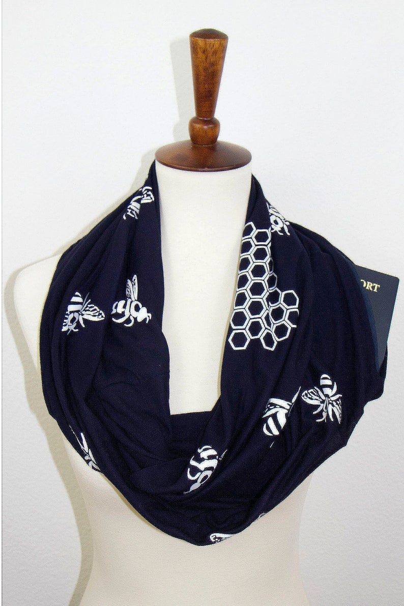 3291b4e719f4 Honey Bee Printed Handmade Premium Women Infinity Scarf with Zipper  Pocket–Soft Stretchy Jersey