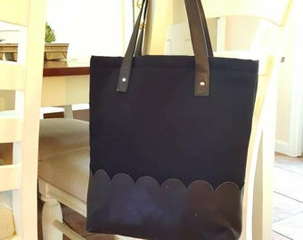 Black recycled leather and black twill tote with scallop detail