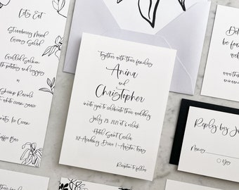 Minimalist Modern Calligraphy Wedding Invitations 6-pc, for a simple wedding in monochrome black and white