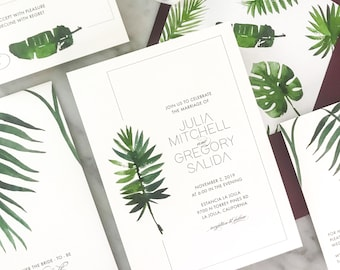 Mod Tropical Wedding Invitation Suite for a tropical modern wedding with a hint of elegance and watercolor tropical leaves