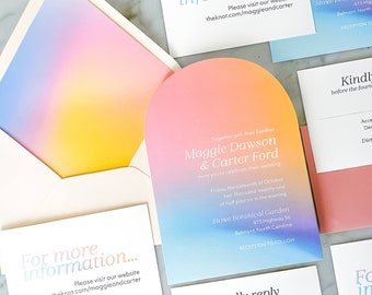 Holographic Arched Wedding Invitation Suite 4-PC