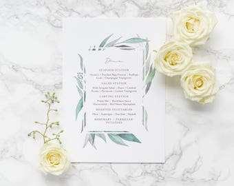 Watercolor Leaf Wedding Menu Calligraphy Custom Menu
