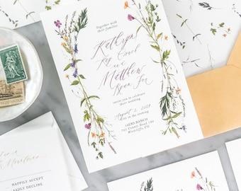 Boho Wildflower Wedding Invitation Suite, Boho Wedding Invitations, Wildflower Wreath invitations