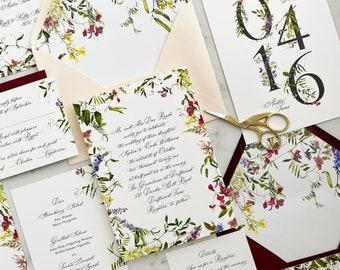 Botanical Wedding Invitations - 6pc wedding invites for Boho, Botanical, Garden, Wildflower wedding!