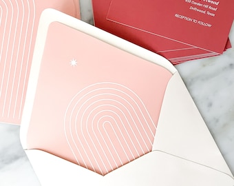 Boho Arch Wedding Invitation Suite Envelope Liner