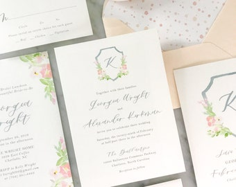 Watercolor Crest Wedding Invitation with Floral Monogram Crest, for Spring and Summer Garden Weddings with Traditional Elegance