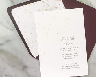 Zodiac Wedding Shower Invite based on your zodiac astrological signs with stars and moons for celestial wedding