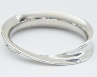 Silver Bangle Bracelet With Curves And Twist - Modern Elegance - Versatile