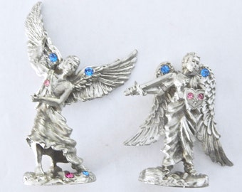 2 CCI Pewter Winged Angel Fairy Figurines With Blue & Pink Crystals - 4315 4319 - Comstock
