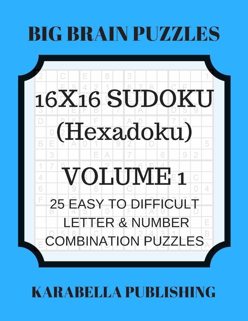 Hexadoku  sudoku 16x16  16x16 sudoku  sudoku print  mega sudoku  Digital  Download  sudoku 16  sudoku hard  big sudoku  sudoku download Vol 1