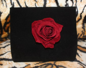 Dark Red Burgundy Velvet Rose Hair Clip Pinup Burlesque Rockabilly VLV