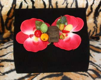 Carmen Miranda Tiki Fruit Double Red orchids Hairclip Tiki oasis Pinup VLV Burlesque