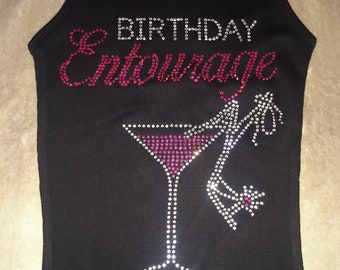 Birthday Entourage Hot Pink and clear Rhinestone Shirt - Birthday Entourage celebration shirt - Girl's Birthday Shirts with bling martini