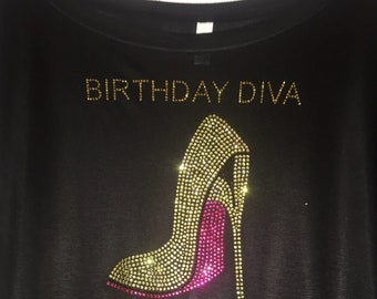 Pink and Gold Birthday , Women's birthday shirts, long sleeve birthday tee , off the shoulder, slouchy, cute, bling, rhinestones, glitter,