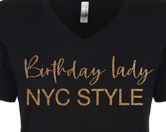 Birthday lady New York style tank. Ladies NYC birthday shirts . Birthday tshirts. Women's bday shirt. 30th, 40th, 50th birthday tees.