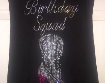 Customized Birthday Squad Shirts , Nashville, Texas , Southern Birthday shirts , Girls Birthday T-shirts, Womens personalized bling tees