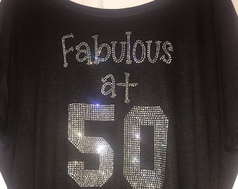 Long Sleeve Fabulous At 50 Shirt Womens Birthday Party T Fifty