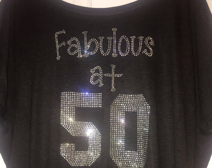 56b9725bc Long sleeve fabulous at 50 shirt , women's birthday party t-shirt, fifty ,
